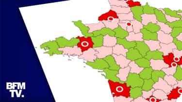 """La carte des """"zones d'alerte"""" au 23 septembre 2020."""