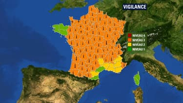 Carte de la canicule de Météo France mardi 23 juillet 2019