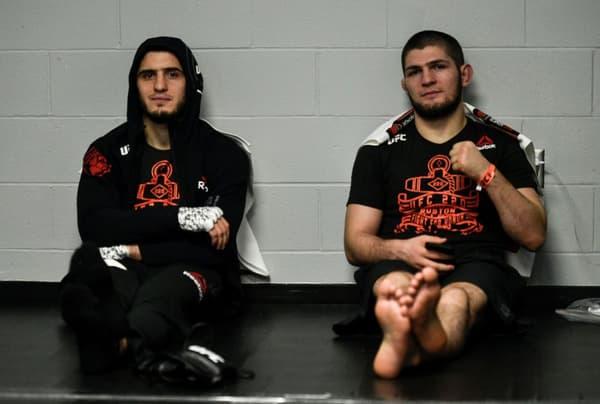 Islam Makhachev (left) and Khabib Nurmagomedov