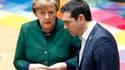 La chancelière allemande Angela Merkel et le Premier ministre grecque Alexis Tsipras.