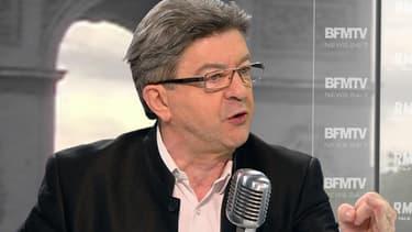 Jean-Luc Mélenchon sur le plateau de BFMTV-RMC, mercredi 6 mai 2015.