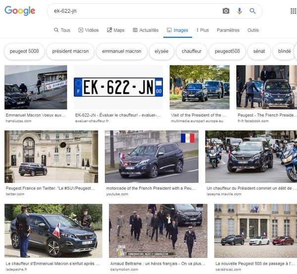 La recherche de la plaque d'immatriculation de l'un des véhicules présidentiels.