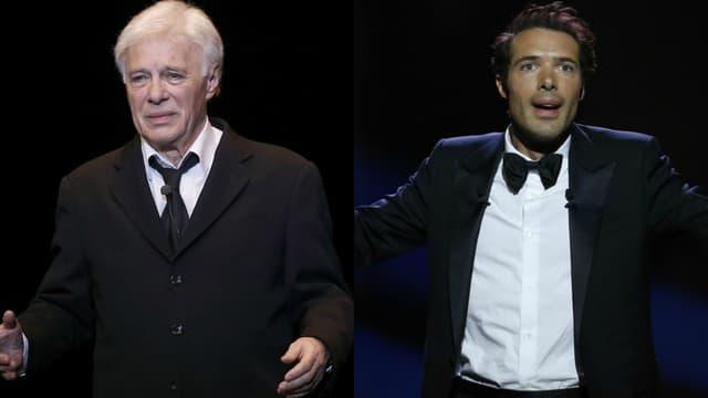 Guy Bedos (à g.) et son fils Nicolas Bedos (à dr.), sur scène lors de leurs spectacles respectifs.