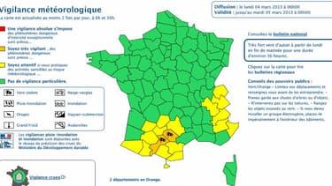 Les départements du Tarn et de la HauteGaronne placés en vigilance orange lundi 4 mars 2013 par Météo France