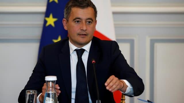 Gérald Darmanin lors de sa première rencontre avec les représentants des syndicats policiers, le 8 juillet 2020 à Paris
