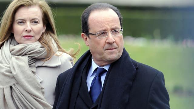 François Hollande et Valérie Trierweiler le 6 avril 2013 à Tulle, en Corrèze.