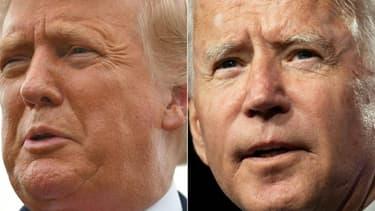 Le président Donald Trump, à gauche, sur une photo prise le 10 septembre 2020, et son rival démocrate, Joe Biden, sur une photo prise le 2 septembre 2020, se rendront tous les deux à Shanksville, en Pennsylvanie, pour l'anniversaire des attentats du 11 septembre 2001