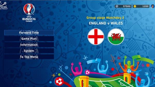 S'il est bien estampillé Euro 2016, le menu de jeu est la copie conforme de celui de PES 2016