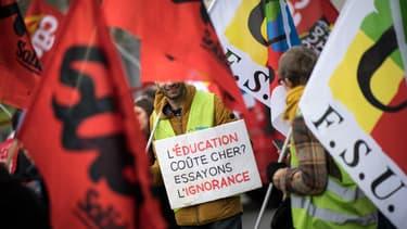 Une manifestation de personnels de l'Éducation nationale à Nantes, le 14 février 2020.
