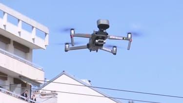 Un drone dans le ciel de Villeurbanne.