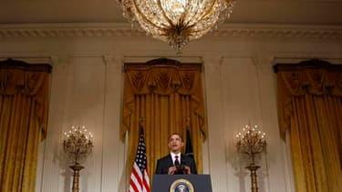 Discours du président américain Barack Obama sur la Libye à la Maison blanche. La France, les Etats-Unis et le Royaume Uni, ainsi que des pays arabes, ont adressé vendredi soir un ultimatum à Mouammar Kadhafi lui demandant de mettre fin immédiatement à se