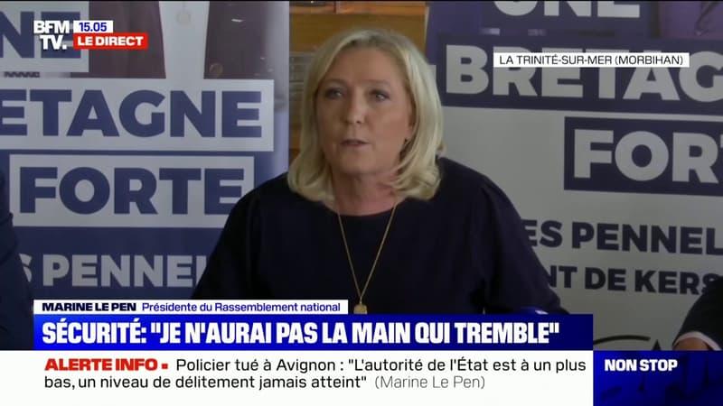 """Marine Le Pen affirme que, contrairement au parti Les Républicains, """"il n'y en a pas un qui vote Emmanuel Macron"""" au Rassemblement national"""