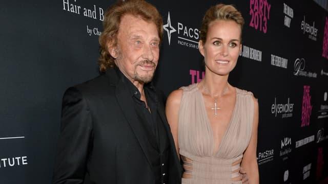 Johnny Hallyday et son épouse Laeticia à Santa Monica en 2013
