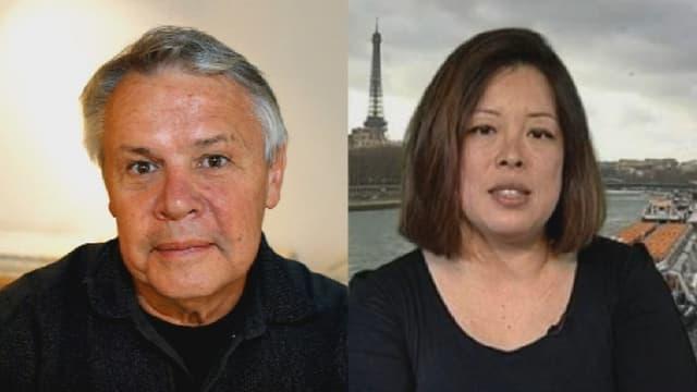 Catherine Graciet et Eric Laurent, les deux journalistes mis en examen pour chantage et extorsion à l'encontre du roi du Maroc.