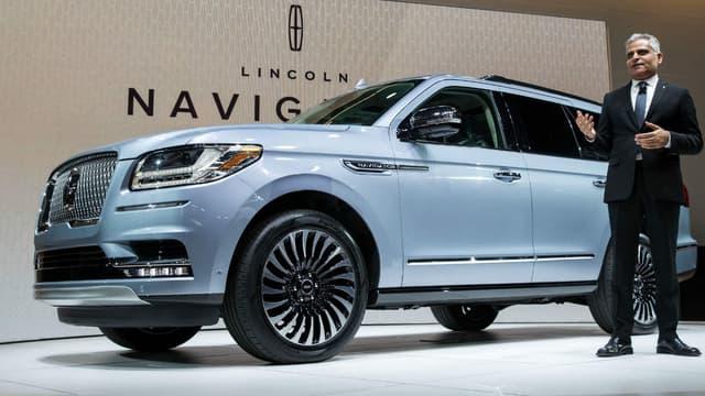 Présenté au salon automobile de New York, ce Lincoln Navigator fait partie des véhicules qui auront dans leur offre de services l'application Lincoln Chauffeur.