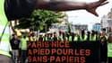 Quatre cent cinquante personnes, selon la police, dont une centaine de sans-papiers partis à pied de Paris le 1er mai, ont manifesté à Nice dimanche, avant le XXVe sommet Afrique-France de lundi et mardi. /Photo prise le 30 mai 2010/REUTERS/Sébastien Nogi