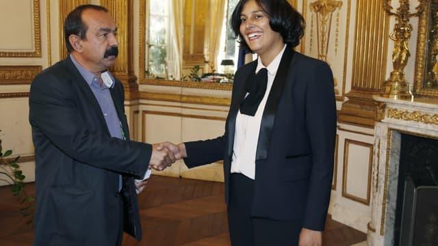 Myriam El Khomri et Philippe Martinez (photo d'illustration)