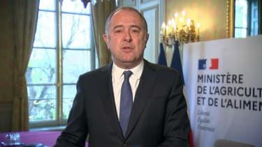 """"""" Le marché c'est l'endroit où l'agriculture française passe 30% de sa production de frais, de fruits et légumes"""", a affirmé le ministre Didier Guillaume."""