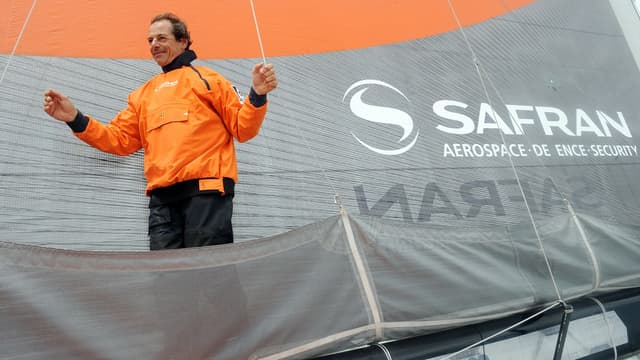 "Marc Guillemot, skipper du bateau Imoca ""Safran"" en 2012."