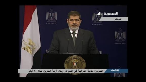 Le président Mohamed Morsi à la télévision égyptienne mardi soir.