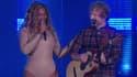 Beyoncé et Ed Sheeran sur scène lors du Global Citizen Festival