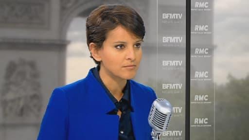 Najat Vallaud-Belkacem sur le plateau de BFMTV, le 23 mai 2013