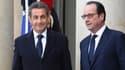 Nicolas Sarkozy et François Hollande sur le perron de l'Elysée le 11 janvier 2015.