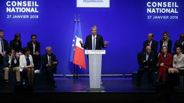 Laurent Wauquiez lors de la clôture du conseil national des Républicains le 27 janvier 2018 à Paris