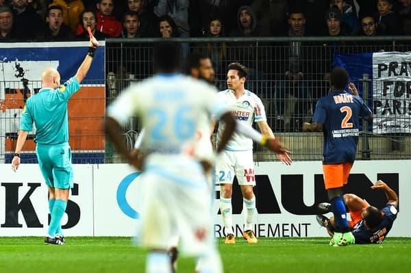 Florian Thauvin expulsé contre Montpellier le 2 février 2016