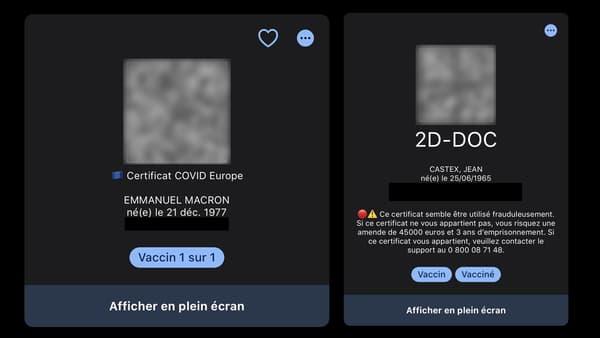 Les QR Codes d'Emmanuel Macron et Jean Castex dans TousAntiCovid