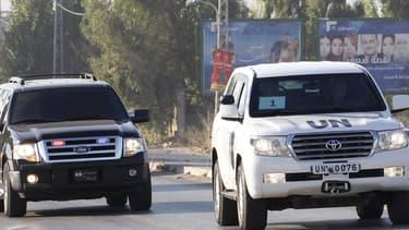 Le convoi de l'ONU arrivant au Liban ce samedi.