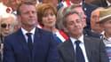 Emmanuel Macron et Nicolas Sarkozy à Saint-Raphaël, lors des commémorations du débarquement de Provence, le 15 août 2019.