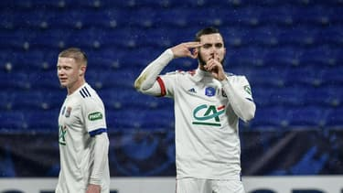 L'attaquant lyonnais Rayan Cherki auteur du 4e but de l'Olympique Lyonnais face à l'AC Ajaccio en Coupe de France à Décines, le 9 février 2021
