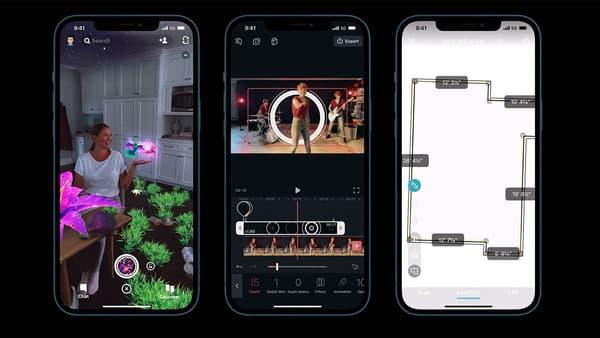 Captures d'écran de fonctions permises grâce au capteur LiDAR de l'iPhone 12 Pro