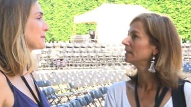 Julie Gayet et Anne Gravoin à Sceaux, pour l'Opéra de plein air.