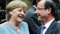 """François Hollande, Angela Merkel et leurs partenaires ont posé mercredi soir les jalons d'une relance par la croissance de l'Union européenne. Mais le président français s'est heurté comme prévu à l'opposition allemande sur les """"eurobonds"""". /Photo prise l"""