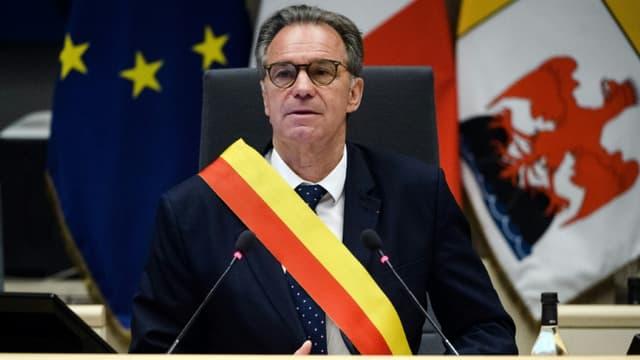 Renaud Muselier réélu président de la région Provence-Alpes-Côte d'Azur (Paca) lors d'une cérémonie d'ouverture de la nouvelle assemblée régionale, le 2 juillet 2021 à Marseille