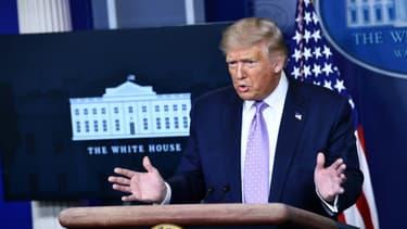Le président américain Donald Trump lors d'une conférence de presse, le 13 août 2020 à la Maison Blanche, à Washington