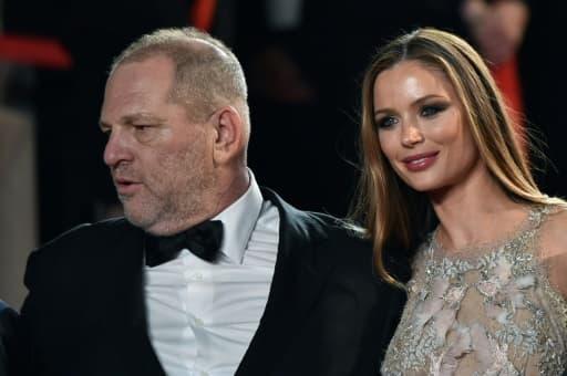 Photo prise le 16 mai 2016 du producteur Harvey Weinstein et de son épouse Georgina Chapman, pendant le festival de Cannes
