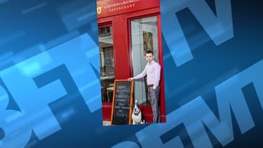 Alexandre Callet, devant son restaurant Les Ecuries de Richelieu, mardi.