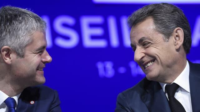 Laurent Wauquiez et Nicolas Sarkozy lors d'un conseil national du parti Les Républicains en février 2018.