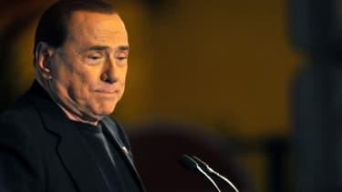 Silvio Berlusconi après l'annonce de son expulsion du Sénat, le 27 novembre 2013, à Rome.