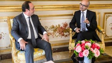 François Hollande recevant le patron de Microsoft Satya Nadella