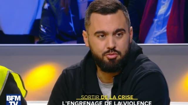 Le gilet jaune Eric Drouet sur le plateau de BFMTV, mercredi 5 décembre.