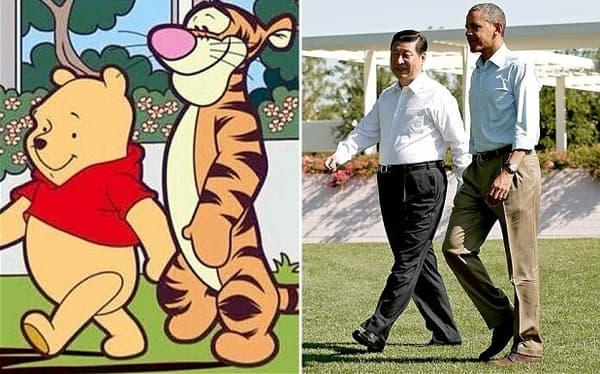 Xi Jinping et Barack Obama en 2013, comparés à Winnie l'ourson et Tigrou.