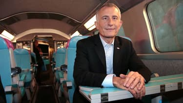 Guillaule Pépy le 19 février 2013, dans le nouveau TGV low-cost à Marne-la-Vallée.