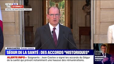 """Jean Castex: """"Cet accord historique se veut d'abord une reconnaissance considérable à l'égard de celles et ceux qui ont été en première ligne"""""""