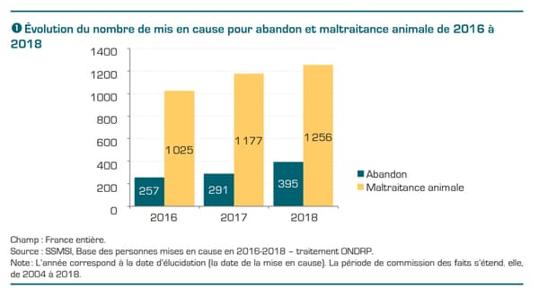 Évolution du nombre de mis en cause pour abandon et maltraitance animale de 2016 à 2018