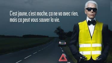 Le couturier disparu ce 19 février avait prêté son image en 2009 à la sécurité routière, pour populariser l'usage du gilet jaune en cas d'accident.