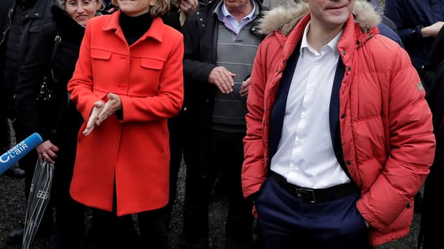 Laurent Wauquiez et Valérie Pécresse lors d'un déplacement commun, le 31 janvier 2018.